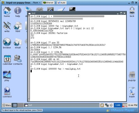 Screenshot showing BigAl on Puppy Linux running in VMware Player