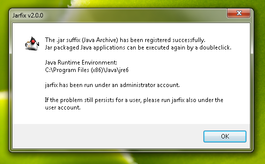 Jarfix Success Dialog